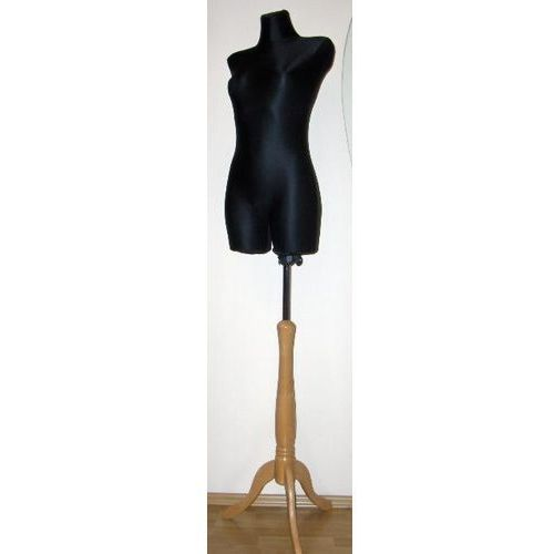 b0c54c378c2ce7 OKAZJA - Manekin krawiecki - tors kobiecy długi czarny - rozmiar 40/42 na  drewnianym ...