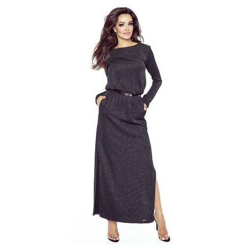 Bergamo Czarna sukienka maxi z koronką na plecach