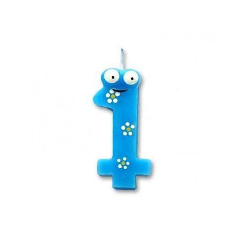 Świeczka cyferka jedynka 1 niebieska stworek - 1 szt. (5907509904745)
