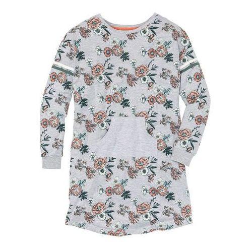 Koszula nocna z kieszonką kangurką jasnoszary melanż z nadrukiem marki Bonprix