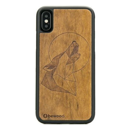 Bewood Case iphone x wilk imbuia dąb geometric animals