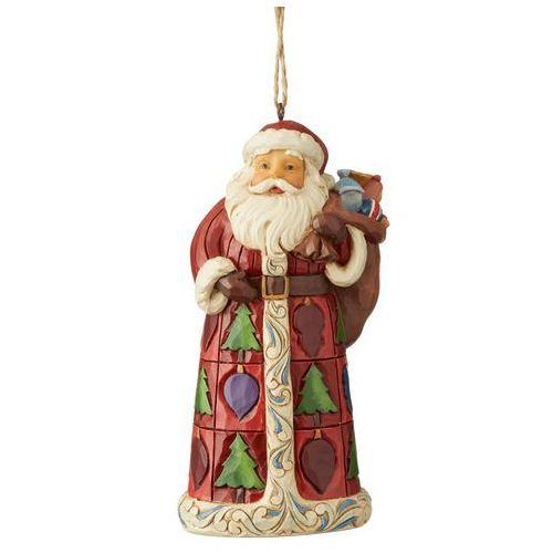 Jim shore Mikołaj z prezentami zawieszka santa with toy bag (hanging ornament) 6004302 figurka ozdoba świąteczna gwiazdor
