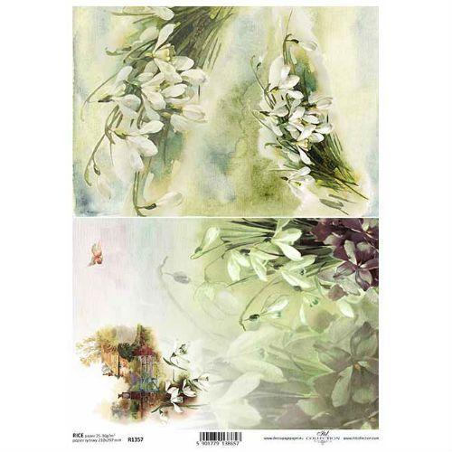Papier ryżowy ozdobny 297x210 mm - białe kwiaty