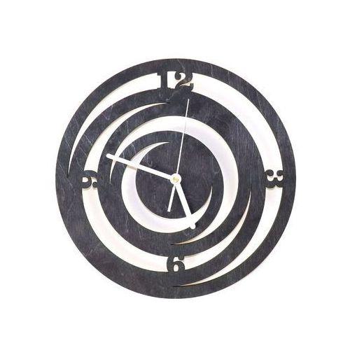 Drewniany zegar na ścianę Spirale z białymi wskazówkami, kolor czarny