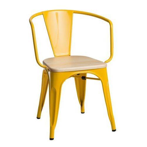Krzesło Paris Arms Wood sosna naturalna - żółty, d2-5156