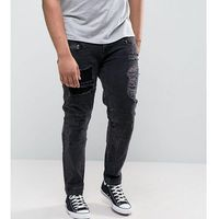 ASOS PLUS Skinny Jeans With Biker Zip And Rips Details In Washed Black - Black, jeans