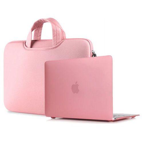4kom.pl Torba pokrowiec neopren +etui hard case macbook air 13 różowy - różowy