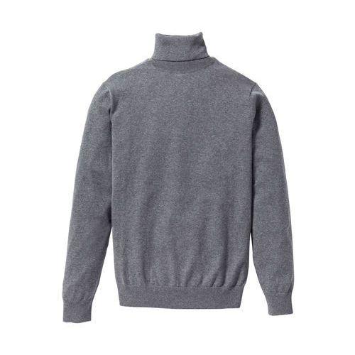 Sweter z golfem regular fit szary melanż marki Bonprix