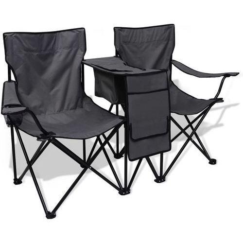 Vidaxl podwójne krzesło kempingowe szare (8718475966876)