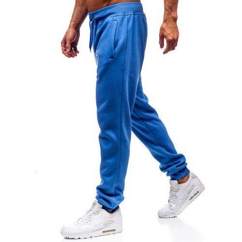 Spodnie męskie dresowe joggery jasnoniebieskie Denley XW01, dresowe