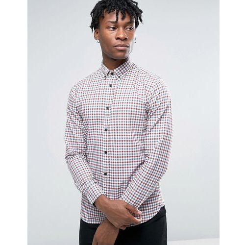 long sleeve slim fit shirt in gingham check button down collar - red wyprodukowany przez Selected homme
