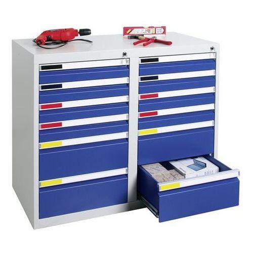 Stumpf-metall Szafka z szufladami, szer. 1000 mm, 12 szuflad, jasnoszary / niebieski gencjanow