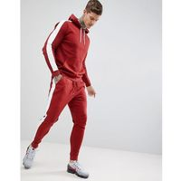 design tracksuit hoodie/tapered joggers in red with side stripe - red marki Asos