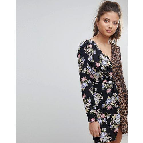 floral and leopard print plunge neck mini dress - black, Missguided