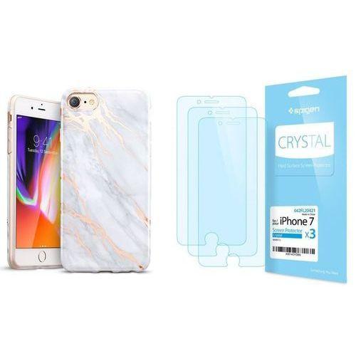 Zestaw | etui marble gray + folia spigen crystal film - iphone 7 / 8 marki Esr
