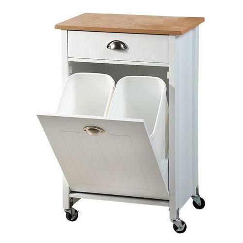 Barek na kółkach z koszem do segregacji śmieci, drewniany wózek w kolorze białym (4000270255267)