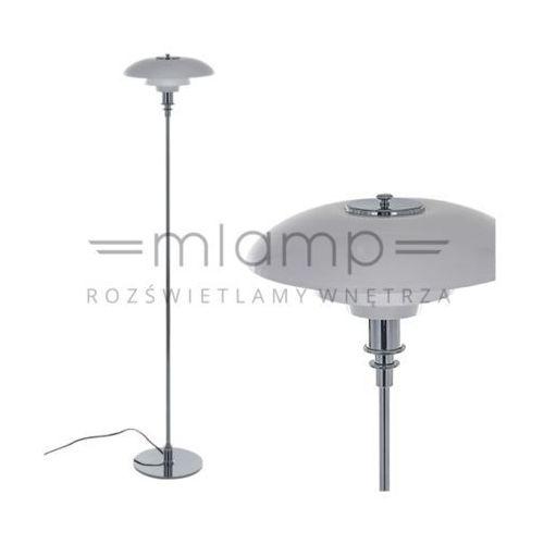 Stojąca lampa podłogowa roger mle3028/1-chrome  oprawa szklana chrom biała marki Italux