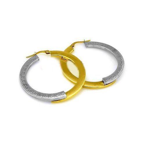 Lovrin Złote kolczyki 585 grecki wzór 2,37g białe złoto koła