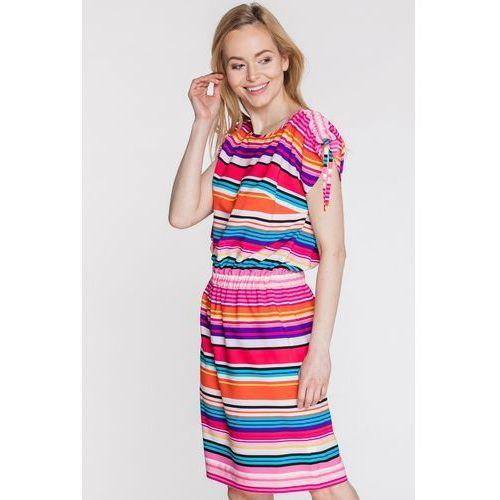 Sukienka w kolorowe paski - SU