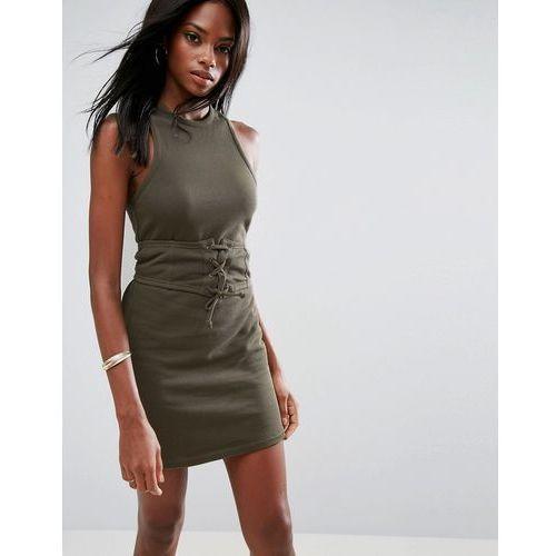 sleeveless corset mini dress with cut out back - green marki Asos