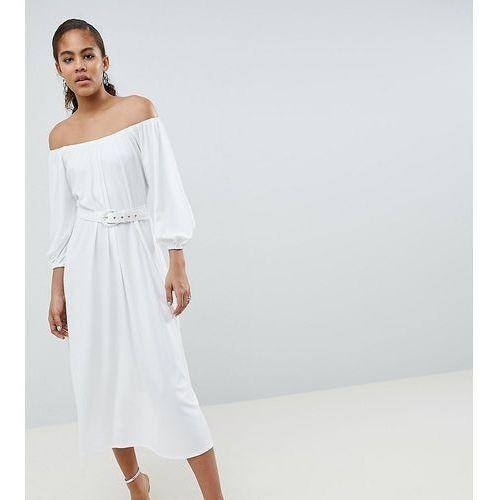 Asos design tall bardot midi dress with belt - white, Asos tall