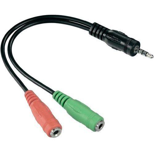 Hama Kabel audio, jack  54573, [1x złącze męskie jack 3,5 mm - 2x złącze żeńskie jack 3,5 mm], 0.10 m, czarny (4007249545732)