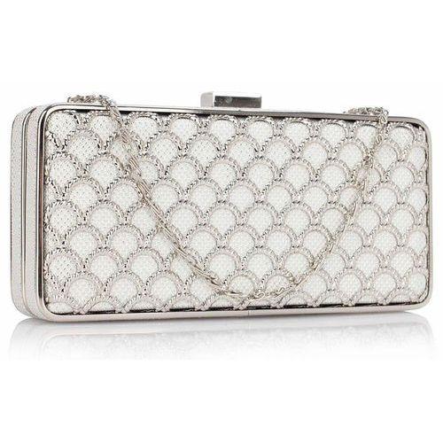 Luksusowa ażurowa torebka wizytowa biała ze srebrem - biały ||srebrny marki Wielka brytania
