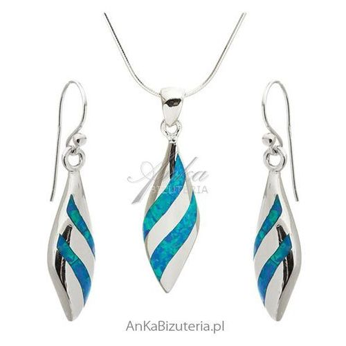 Komplet biżuteria srebrna z niebieskim opalem elegancka biżuteria damska marki Anka biżuteria