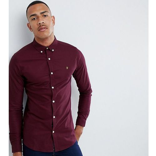 sansfer skinny fit oxford shirt in red exclusive at asos - red, Farah