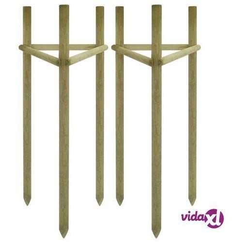 paliki do drzew, 2 szt., impregnowane drewno sosnowe, 50x45x197 marki Vidaxl