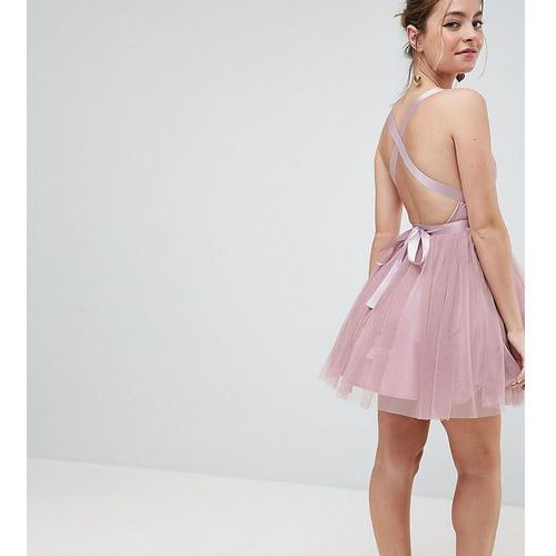 ASOS PETITE PREMIUM Tulle Mini Prom Dress With Ribbon Ties - Pink