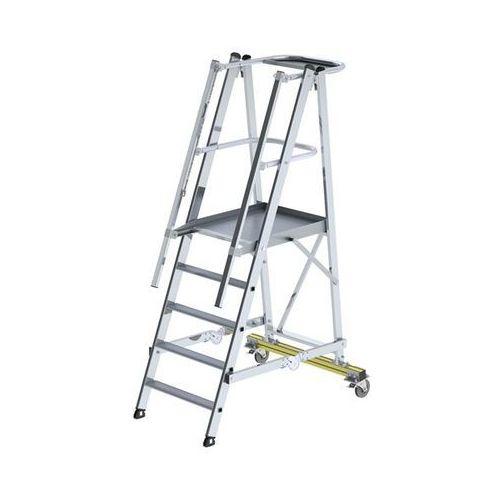 Aluminiowa drabina platformowa, na kółkach, z 3-stronną poręczą platformy, 5 szc
