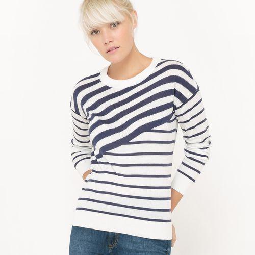 Sweter z okrągłym dekoltem, w asymetryczne paski marki R essentiel