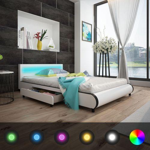 łóżko ze sztucznej skóry z zagłówkiem led 140cm i materacem memoryfoam, marki Vidaxl
