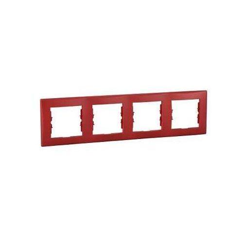 Sedna Ramka poczwórna czerwona pozioma SDN5800741 SCHNEIDER ELECTRIC (8690495037326)