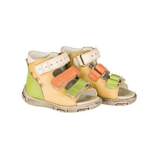 Memo Sandały start model dino kolor żółto / pomarańczowe