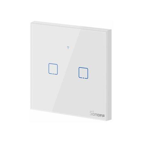 Dotykowy włącznik światła wifi + rf433 t1 2c   2-kanałowy marki Sonoff