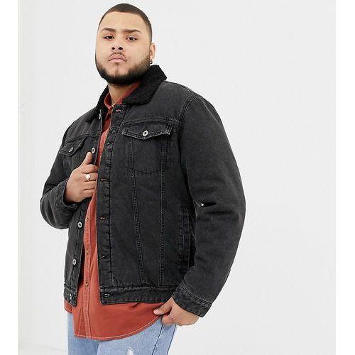 plus borg lined denim trucker jacket - black marki D-struct