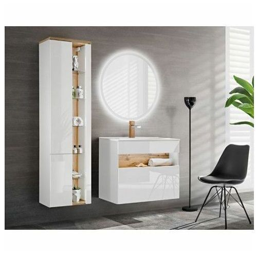 Zestaw mebli łazienkowych z oświetleniem led monako 2q 60 cm - biały połysk marki Producent: elior