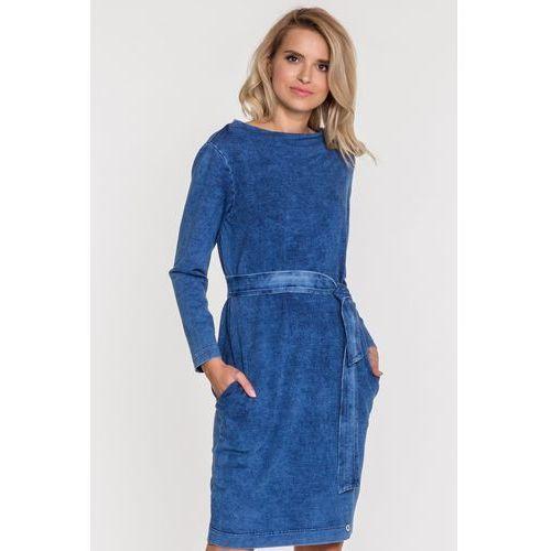 Niebieska sukienka dzianinowa - Ennywear, kolor niebieski
