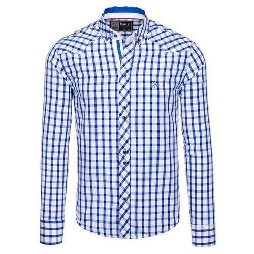 Chabrowa koszula męska elegancka w kratę z długim rękawem Bolf 5817 - CHABROWY