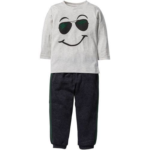 Koszulka z długim rękawem + spodnie dresowe (2 części)  naturalny melanż - antracytowy melanż z nadrukiem, marki Bonprix