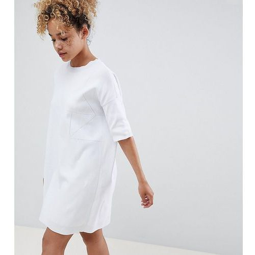 ASOS DESIGN Petite knitted t-shirt dress with pointelle stitch detail - White, kolor biały