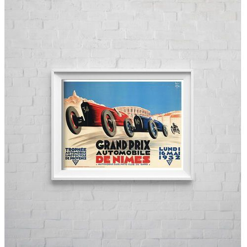 Plakat w stylu retro plakat w stylu retro grand prix automobile de nimes marki Vintageposteria.pl