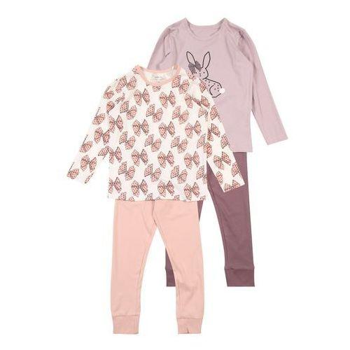 NAME IT Piżama 'NMFLUFIE 2P NIGHTSET' beżowy / fioletowy / bladofioletowy / różowy / biały, kolor różowy