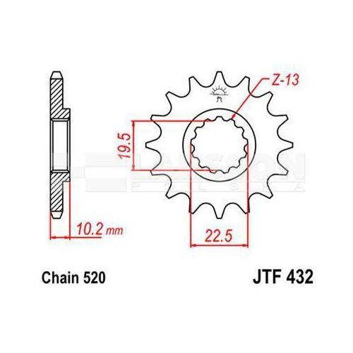 Zębatka przednia jt f432-14 sc, 14z, rozmiar 520 2201182 suzuki dr 350, dr-z 400 marki Jt sprockets