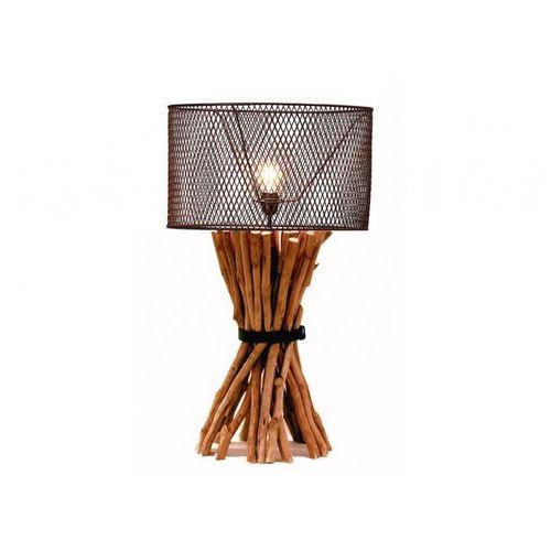 Lampa podłogowa brocante z drewna i metalu – wys. 81 cm marki Vente-unique