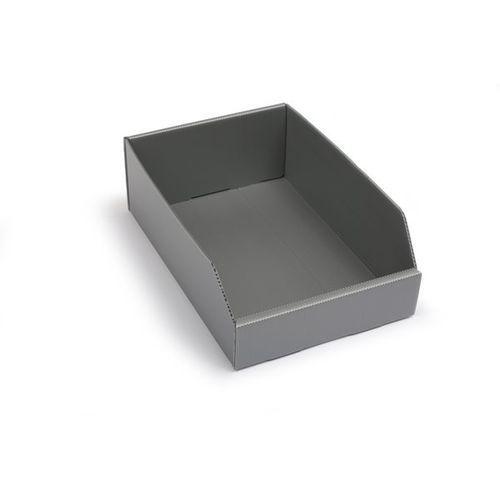 K bins limited Skrzynki regałowe z tworzywa, składane, dł. x szer. x wys. 300x200x100 mm, srebr