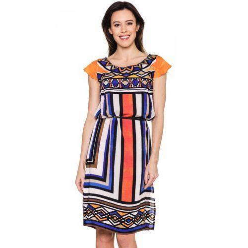 Krótka sukienka w etniczny wzór - Metafora, kolor wielokolorowy