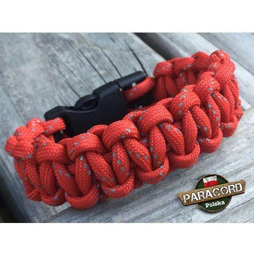 """Bransoleta z Paracordu typ """"Cobra - Red reflective"""" z wplecioną plastikową klamrą"""